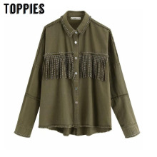 Toppies 2020 Spring tassels for breast Denim Jacket Loose Army Green Button Coat Woman Jeans Jacket Irregular Hem Streetwear cheap WOMEN Turn-down Collar Single Breasted Outerwear Coats vintage Full 9495 9311 STANDARD Jackets COTTON Solid