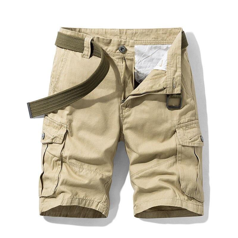 2020 Summer Men's Baggy Multi Pocket Military Cargo Shorts Male Cotton Khaki Mens Tactical Shorts Short Pants 30-38 No Belt