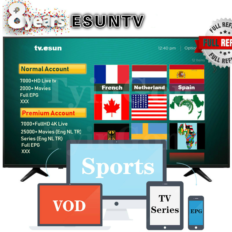 ESUN Normal/Premium Account French ESUN Netherland ESUN Dutch ESUN Germany ESUN Spain ESUN Africa ESUN Subscription M3u