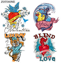 ZOTOONE Duck Tiger Herat Patches for Clothing DIY Heat Transfer Printed Sticker Jeans Press Appliqued Decoration Iron on Patch E
