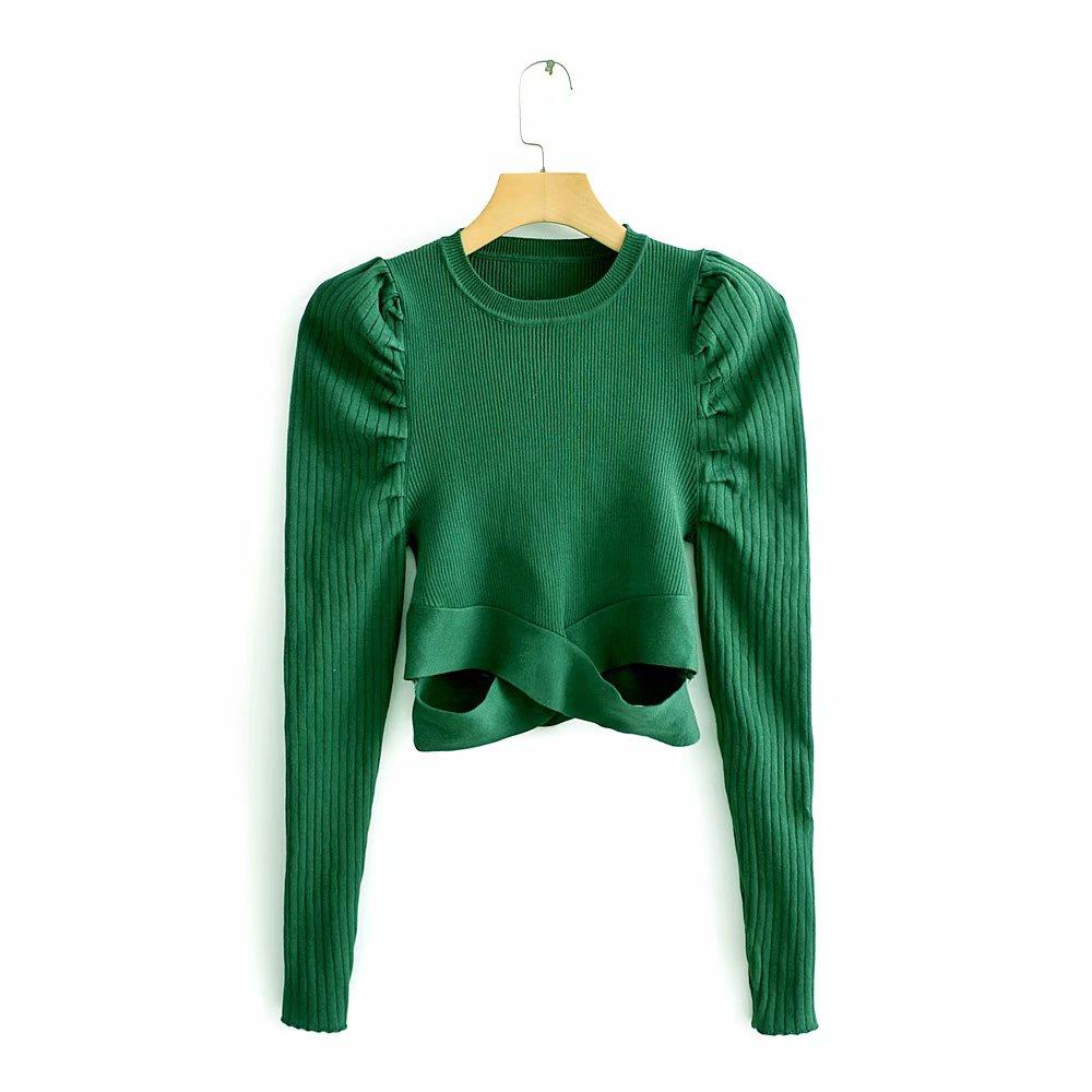 2020 New Women Fashion Puff Sleeve Short Sweater Ladies Basic Knitted Casual Slim High Street Hem Cross Sweaters Chic Tops S217