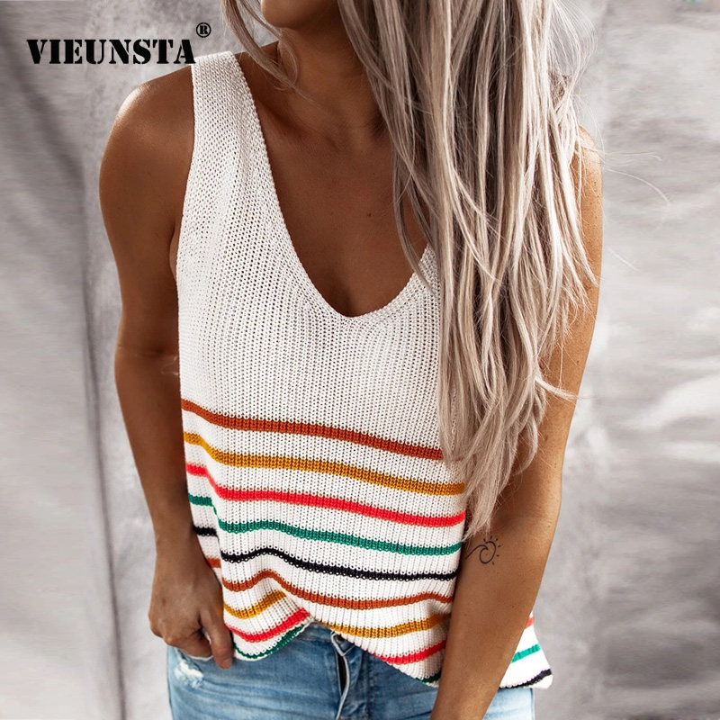 Womens Clothing 2020 Summer Colorful Striped Blouse Shirt Sexy V-neck Sleeveless Knitted Shirts Spring Streetwear Tops Blusa 3XL