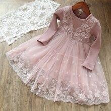 Платье для маленьких девочек; Детские праздничные платья для девочек; детская одежда для девочек; кружевное платье-пачка принцессы с длинными рукавами; vetement fille