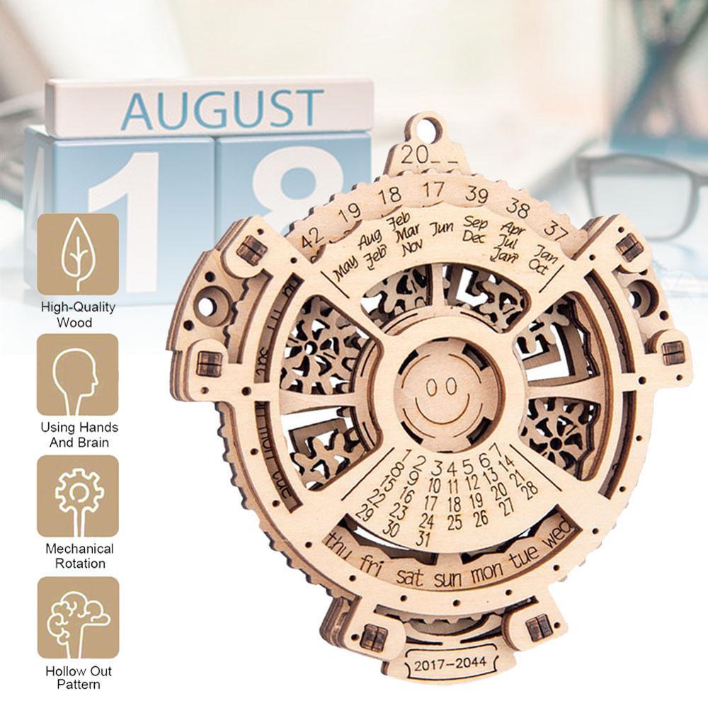 3D Puzzle Mini Unique Perpetual Calendar Wooden Mechanical Transmission Laser Engraving 2017 To 2044 Calendar Creative Set
