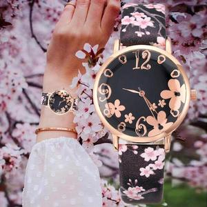 Creative Hipster Ladies Watches Floral Round Alloy Dial Analog Faux Leather Printing Band Women Quartz Wrist Watch reloj mujer(China)