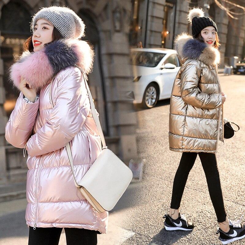 Image 4 - 2019 New Women Winter Down Jacket Chic Big Fur Warm Ultra Light  Long Coat Female Parka Hooded Glossy Jackets OversizedParkas   -