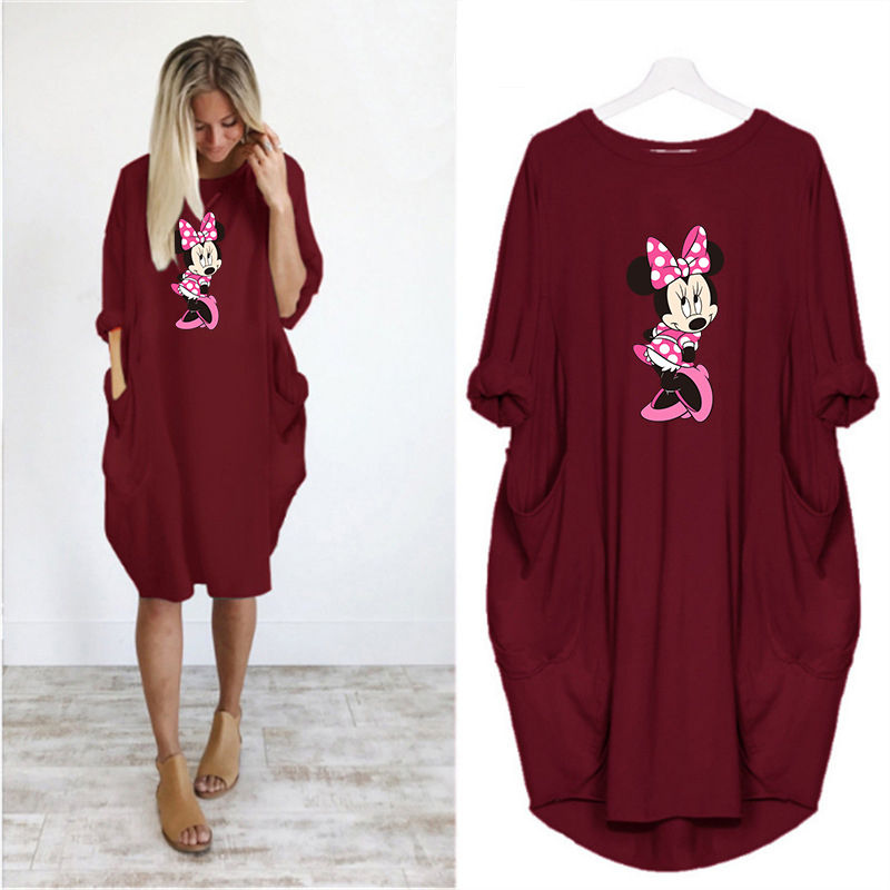 2020 Dress Women Cute Printing Pocket Loose Dresses Vintage Fall Maxi Clothes Party Casual Dresses Woman Plus Size Leopard Dress 14