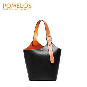 цена на POMELOS 2020 Fashion Luxury Handbags Women Bags Designer Brand Excellent Quality Leather Bucket Shoulder Tote Bag For Ladies