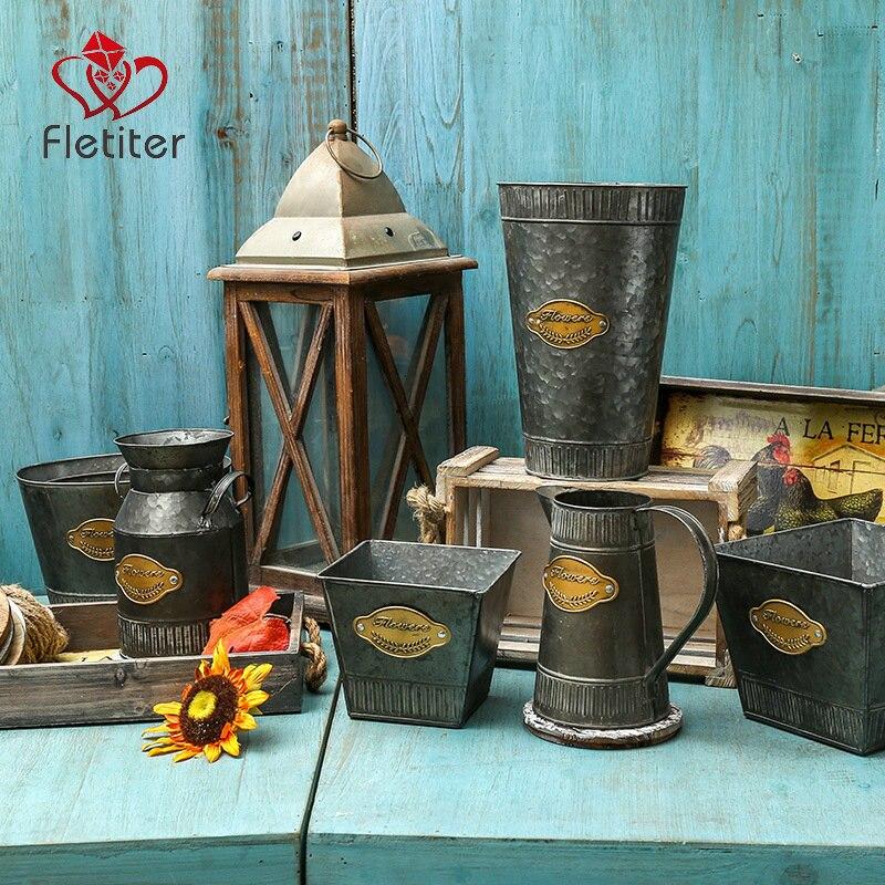 Fletiter оцинкованная ваза дом металлическая консервная банка молока Винтаж загородный ведро горшок горшки кувшин для Кухня Декор в гостиную