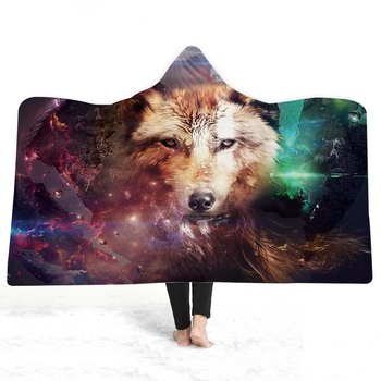 3D Wolf Hooded Blanket 2