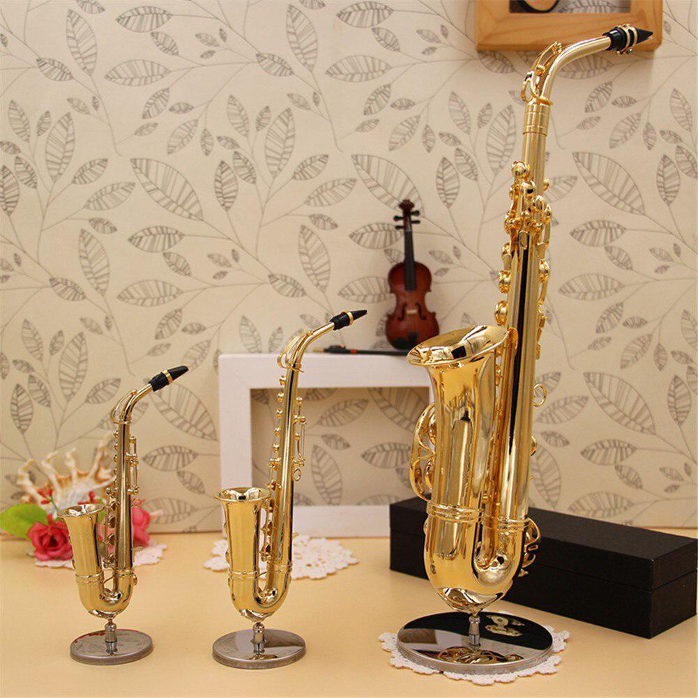Mini Saxophone Model Musical Instruments Copper Brooch Miniature Desk Decor Display Sax Gold Color Pocket Sax Alto With Bracket