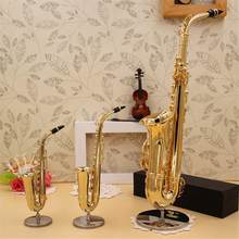Mini Saxophone Model Musical Instruments Copper Brooch Miniature Desk Decor Display Sax Gold Color Pocket Sax Alto With Bracket(China)