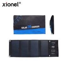 Xionel carregador solar dobrável para área externa, 3 portas usb 28w 5v à prova d água, carregamento rápido, com painel solar