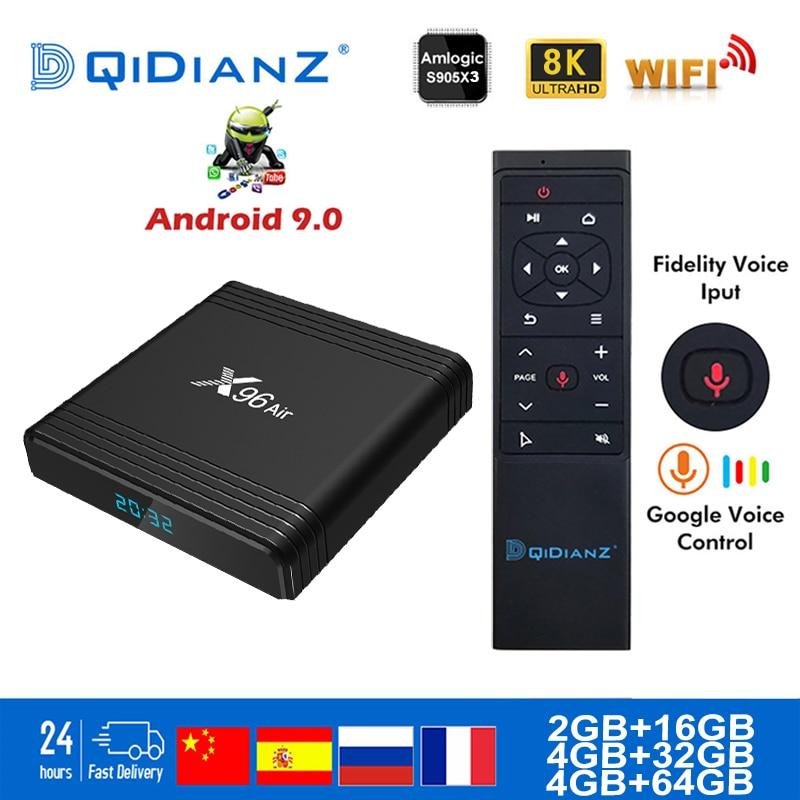 Smart TV BOX X96 Air Android 9.0 4K Dual Wifi BT Netflix Media Player Play Store Free App Fast Set Top BOX X96Air PK HK1MAX H96