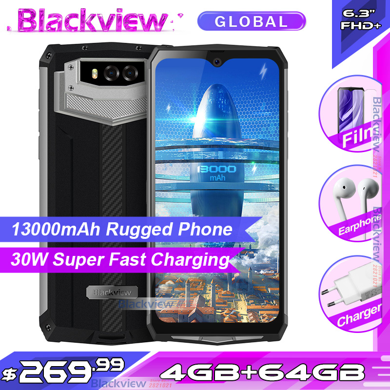 Blackview BV9100 6.3 FHD+ 13000mAh IP68 Rugged Smartphone 4GB 64GB Helio P35 Octa Core Android9.0 Mobile Phone 30W Fast ChargeCellphones   -