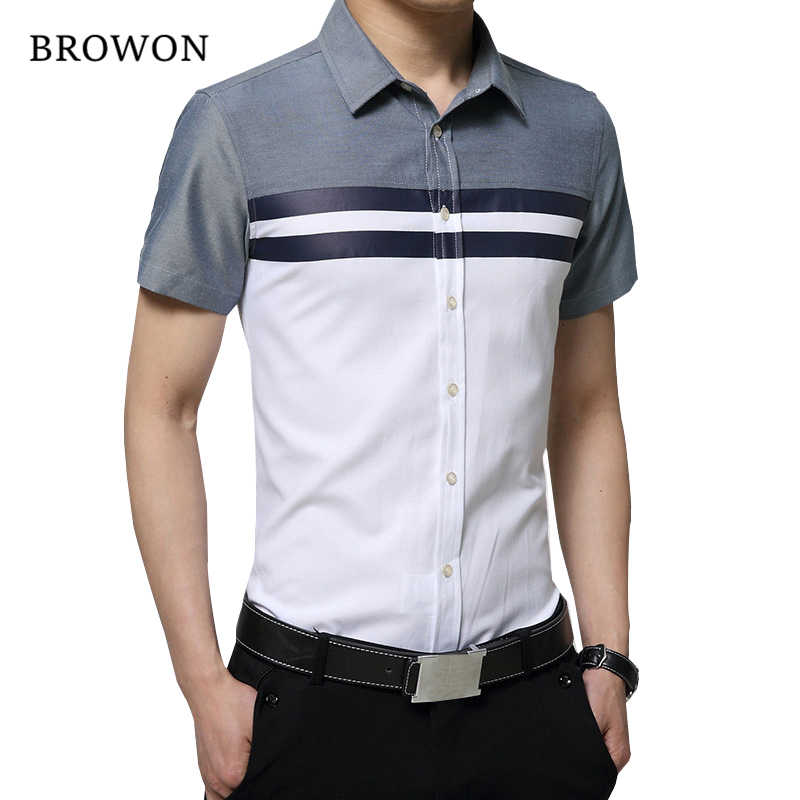 BROWON New Arrival Mens Shirt 패션 반팔 남성 셔츠 Regular Fit Striped design 사회 셔츠 Camisa Social Masculina