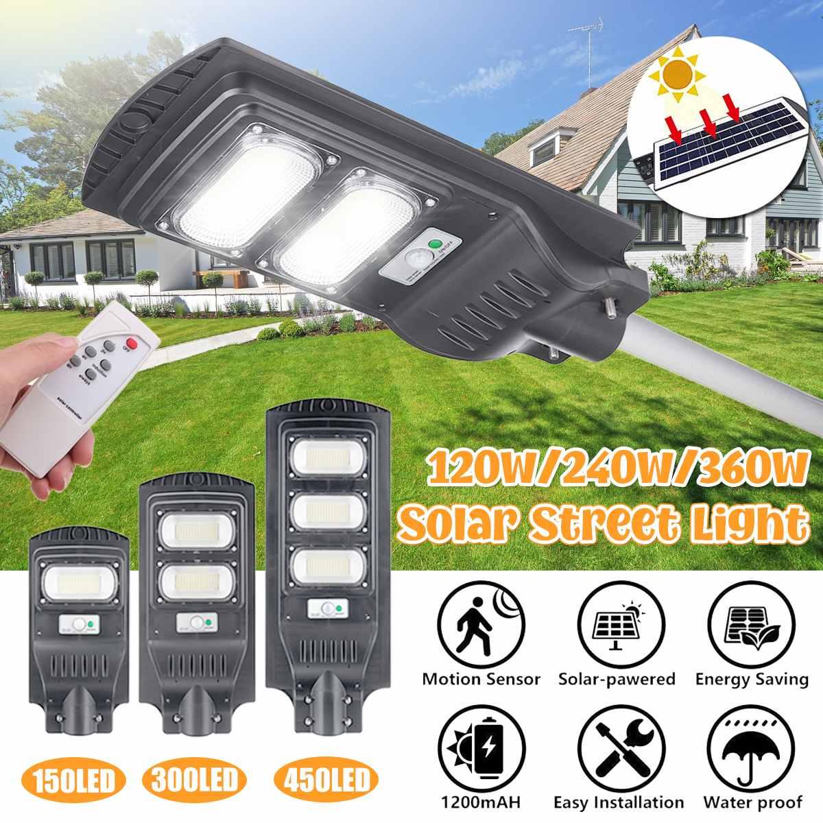 Smuxi 32000LM 120 W/240 W/360 W Solar Straße Licht 150/300/450 led Grau outdoor-High-helligkeit Lampe Motion Sensor fernbedienung