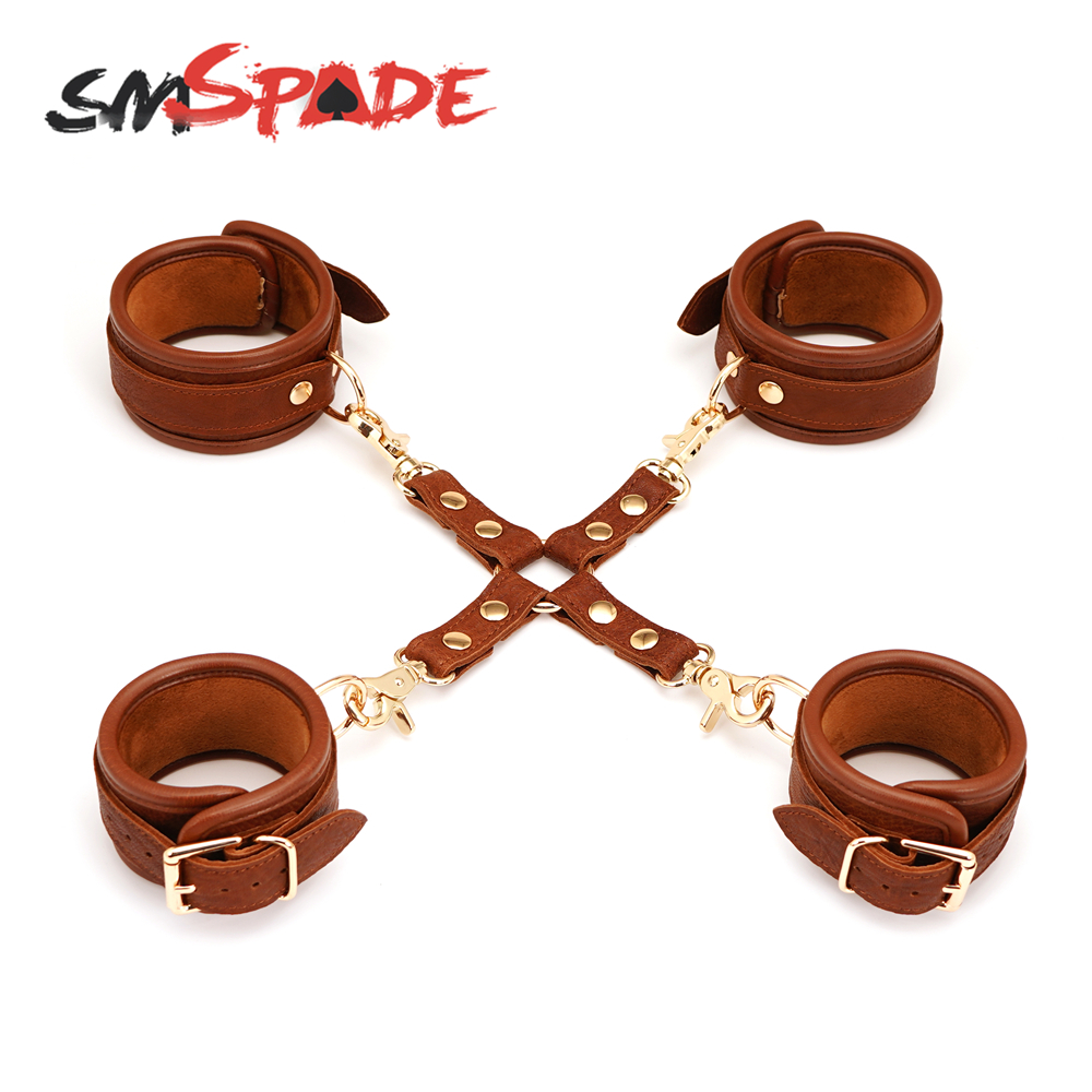 SMSPADE 4pcs Bondage Kit Leather Wrist & Ankle Cuffs <font><b>Sex</b></font> <font><b>Toys</b></font> <font><b>for</b></font> <font><b>Adult</b></font> <font><b>Games</b></font> Slave DBSM Bondage <font><b>Sex</b></font> Products <font><b>for</b></font> <font><b>Couples</b></font> image