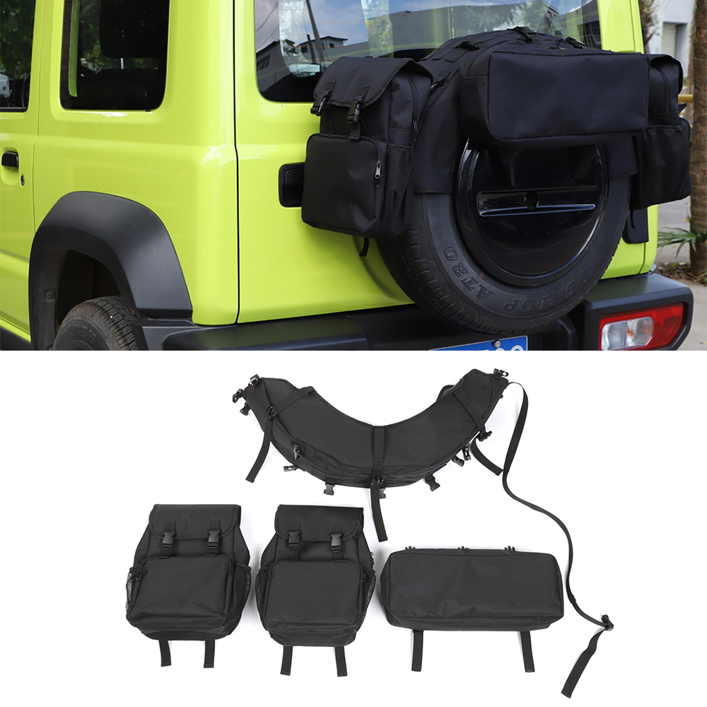 for Suzuki Jimny 2019 2020 JB43 JB64 JB74 Spare <font><b>Tire</b></font> Storage Bag Cargo Organizer Bags Car Accessories Black for Suzuki Jimny <font><b>19</b></font>+ image