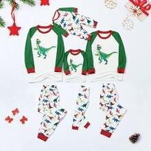 Рождественская модная Пижама для всей семьи топ с принтом динозавра