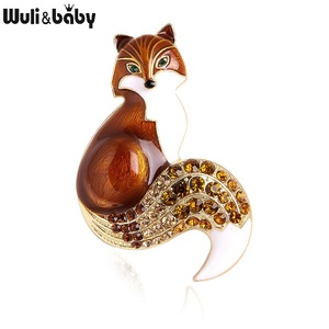 Wuli&baby Rhinestone Enamel Fox Brooches For Women Animal Party Causal Brooch Pins Gifts