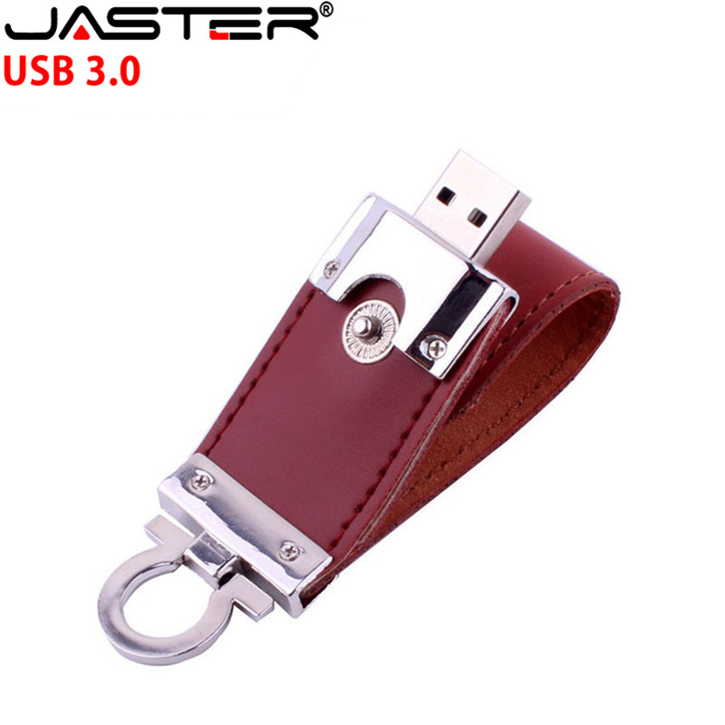 JASTER USB 3.0 customer LOGO leather usb flash drive key chain pendrive 4GB 8GB 16GB 32GB 64GB business memory stick gift 4