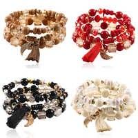 HOCOLE Mode Kristall Perle Armbänder Für Frauen Multi-schicht Quaste Charme Armband & Armreifen Armband Schmuck Geschenke 3 teile/satz