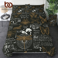 BeddingOutlet Insects Bedding Set Butterfly Beetle Duvet Cover Dragonfly Retro Comforter Cover 3pcs Sketches Vintage Bedclothes
