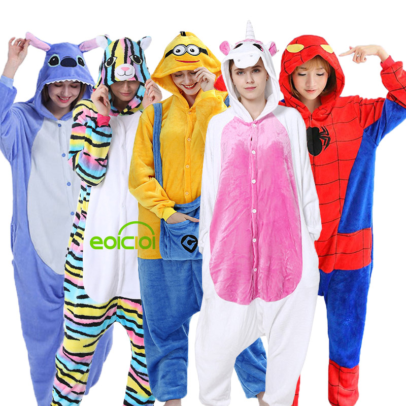 New Boys Girls Kigurumi Pajamas Set Unicorn Dinosaur Pyjamas For Women Pijimas Adults Animal Panda Cat Sleepwear Winter Onesies