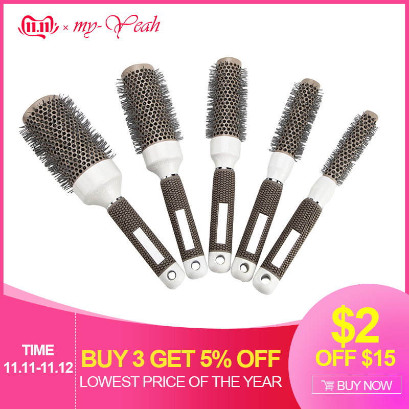 5 Sizes Gray Nano Thermal Ceramic Ionic Hair Brush High Temperature Resistant Round Barrel Comb Curly Pro Salon Styling Tools