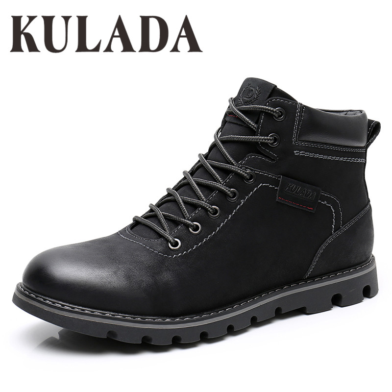 KULADA Boots Men Super Warm High Quality Winter Leather Shoes Leisure Skid  Boots Retro Men Lace Up Sneaker Casual Shoes