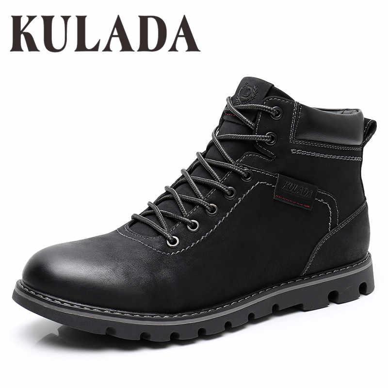 KULADA çizmeler erkek süper sıcak yüksek kaliteli kış ayak bileği ayakkabı eğlence Skid çizmeler Retro erkekler Lace Up Sneaker rahat ayakkabılar