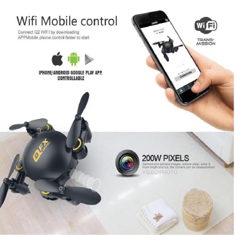 Q2 Mini Drone Wifi FPV RC pliable Selfie oeuf Drone avec caméra RC poche jouet mini course quadrirotor attitude tenir Wifi FPV vs CX-10W