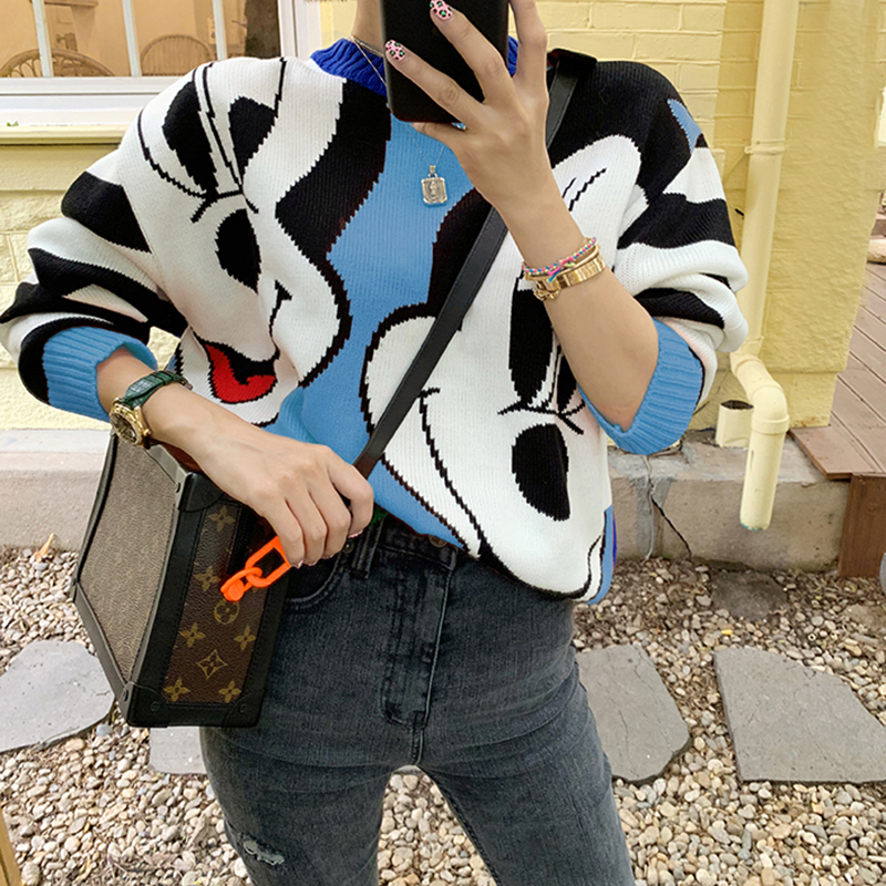 Fashion Mickey Patchwork Mouse Sweater Women Autumn Contrast Color Striped Pullover Loose Casual O Neck Long Sleeve Knitted Top