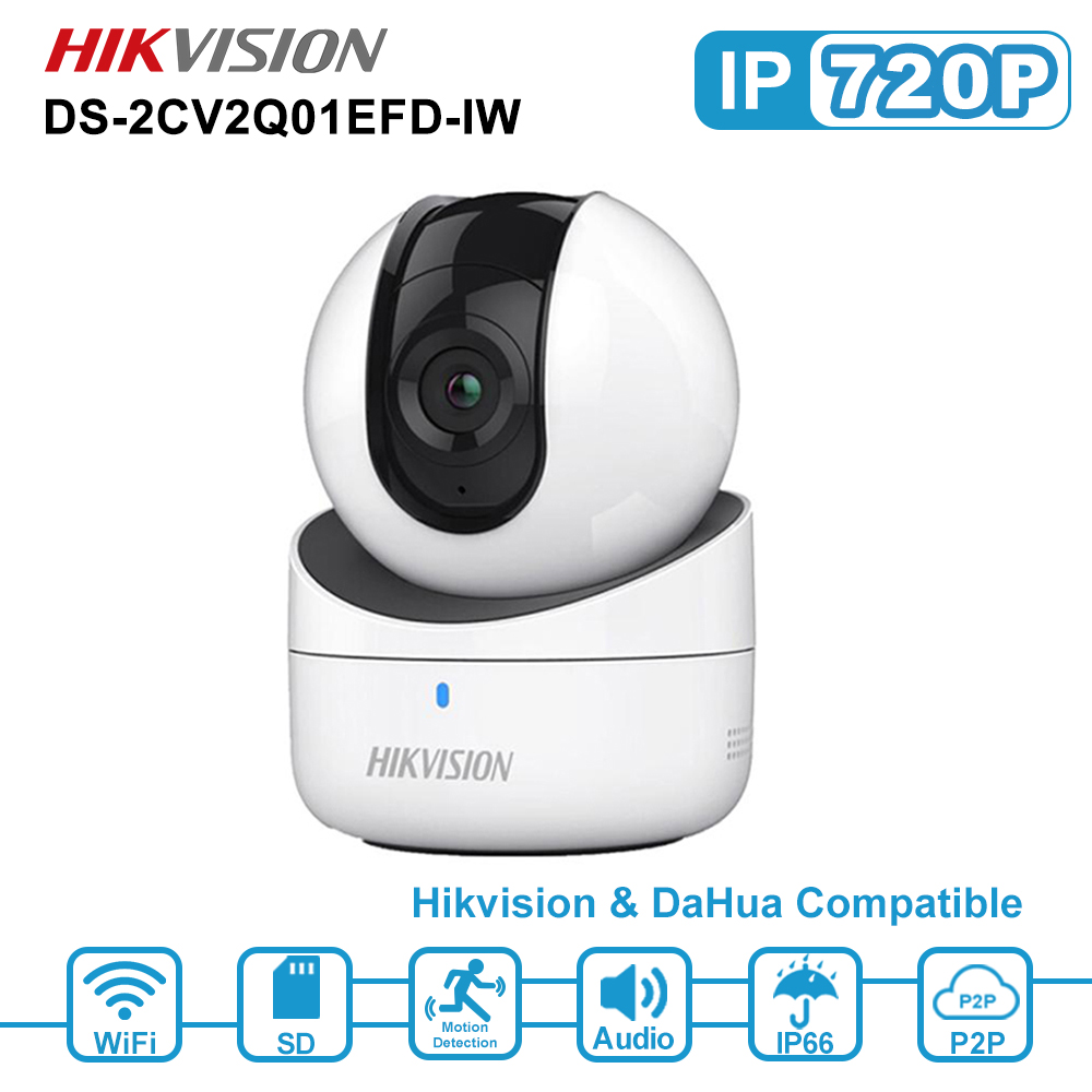 Hikvision 720P Mini WiFi IP Camera Wireless Network PT Camera Built-in Speaker SD Card Slot IR 5m H.264 DS-2CV2Q01EFD-IW