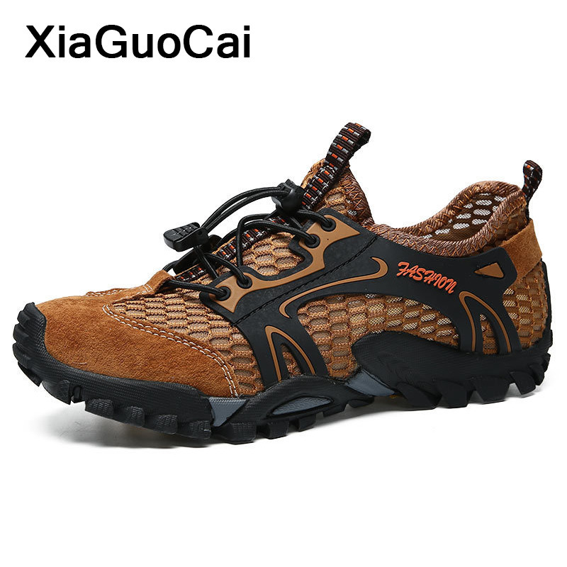 2020 Summer Men Casual Shoes Outdoor Breathable Elastic Band Mesh Male Shoes Waterproof Wading Footwear New Arrival Big Size