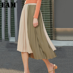 [EAM] مرونة عالية الخصر التباين اللون مطوي غير متناظرة نصف الجسم تنورة المرأة الموضة المد جديد ربيع الخريف 2020 1S075