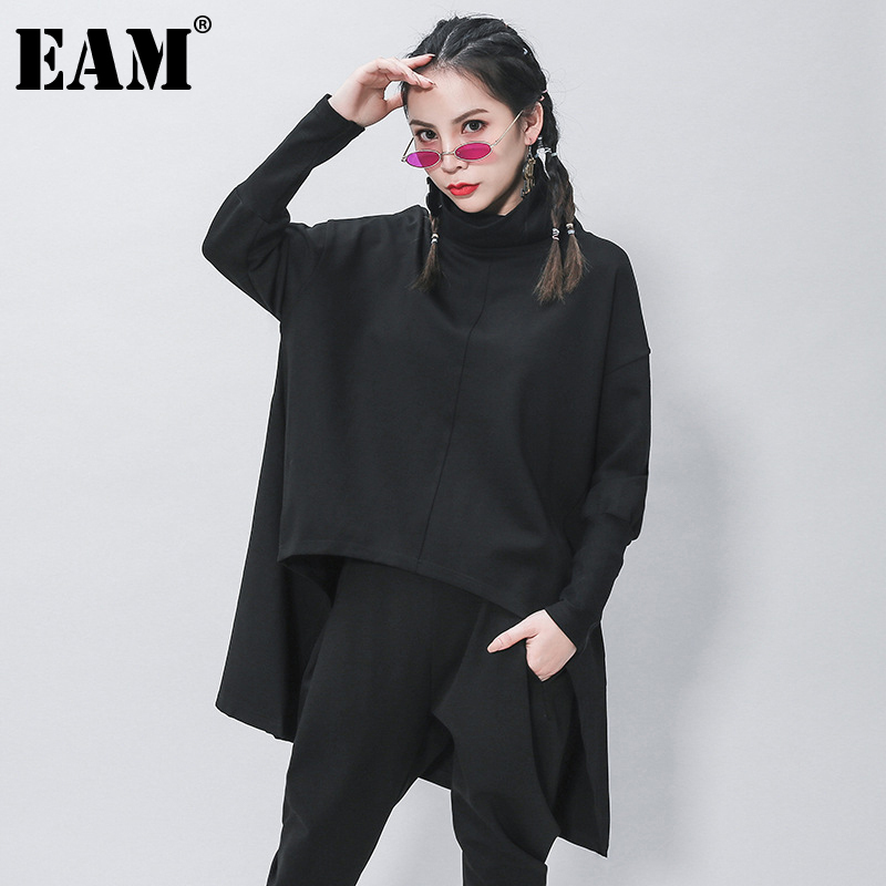 [EAM] Loose Fit Black Irregular Sweatshirt New Turtleneck Long Sleeve Women Big Size Fashion Tide Spring Autumn 2020 1Z320 1
