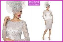 2020 Сексуальная блестками шифон высокой шеи оболочка мать невесты Платья с длинным рукавом длиной до колен формальное вечернее платье у нас-17