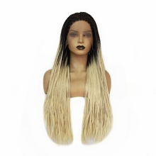 Dark Roots Ombre Blonde Box Braids with Baby Hair Long Synthetic Lace Front Wig Fashion Women's Braided Wig for Women Free Part adiors long senegal twists braids lace front synthetic wig