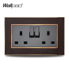 Venta caliente doble conmutado 3 Pin 13A enchufe Wallpad Panel de cuero de lujo plata MARCO DE ORO pared eléctrica toma de corriente AC 110 ~ 250V(China)