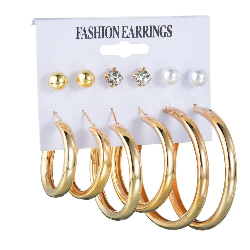 2pcs Fashion Gold Silver Color Imitiation Pearl Earring Big Circle Hoop Earrings