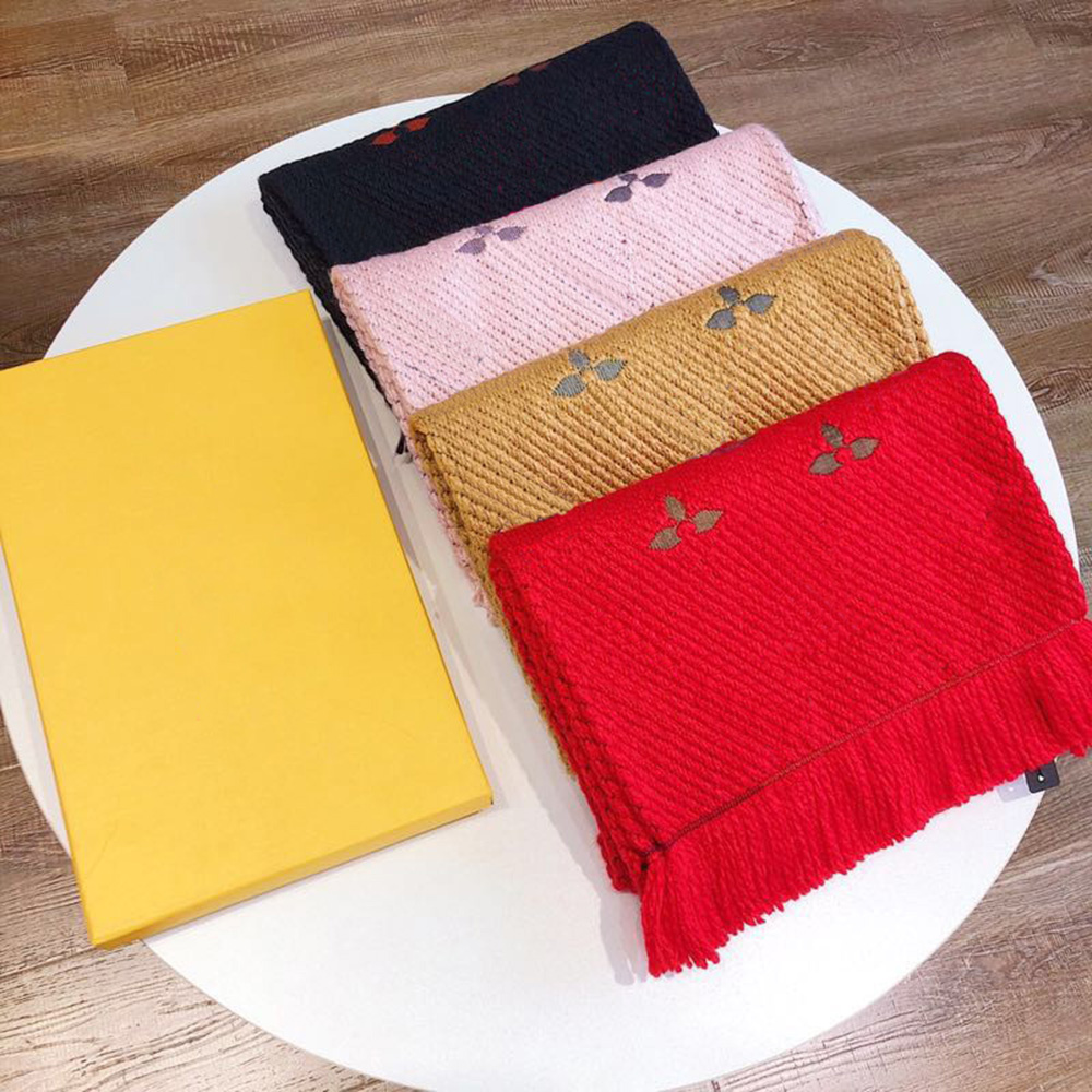 Luxury Brand Women Wool Scarf 30*180 CM High Quality Mono Floral Embroidery Contrast Color Autumn Winter Scarf For Women