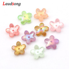 50pcs 17mm Multicolor AB Transparent Acrylic Flower Bead Caps Crimp End Caps For Jewelry Making Finding Diy Handmade Accessories
