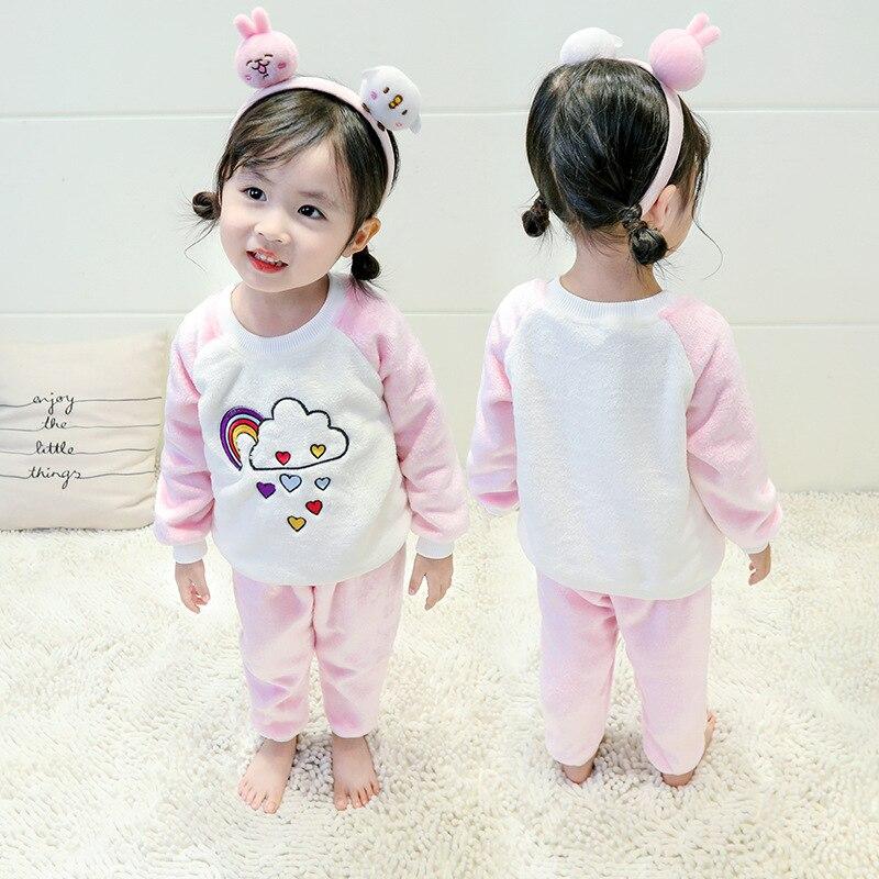 Girls Children Suit 1 Childrenswear 2 Small CHILDREN'S 3 Home Wear 4-Year-Old Female Baby Spring And Autumn Coral Velvet Unisex