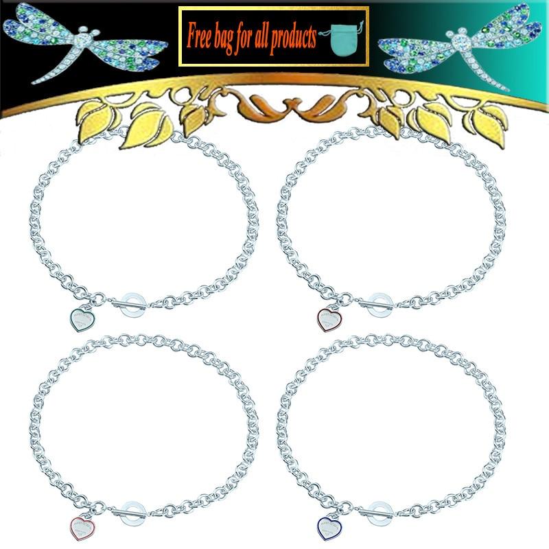 Женское Ожерелье в форме круга с эмалью в форме сердца, ювелирное изделие из стерлингового серебра S925 пробы, грубые популярные аксессуары, п