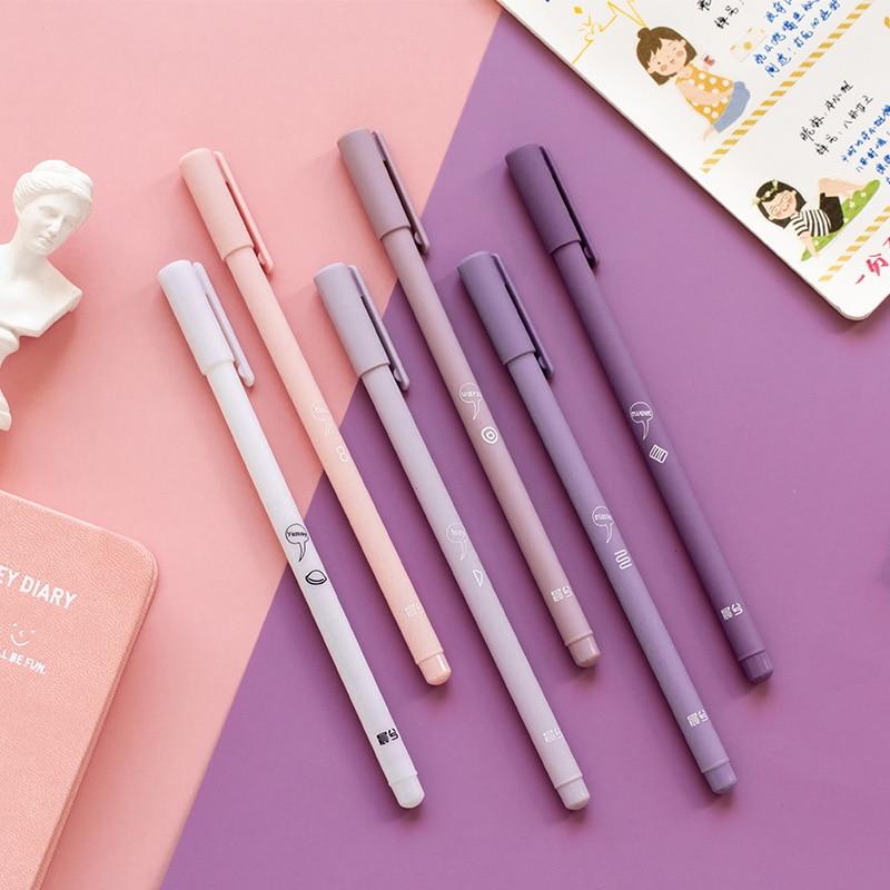 6 Pcs/Box Simple 0.5mm Black Ink Neutral Pen Cute Gel Pen Set  For Kids School Office Writing Supplies Korean Stationery