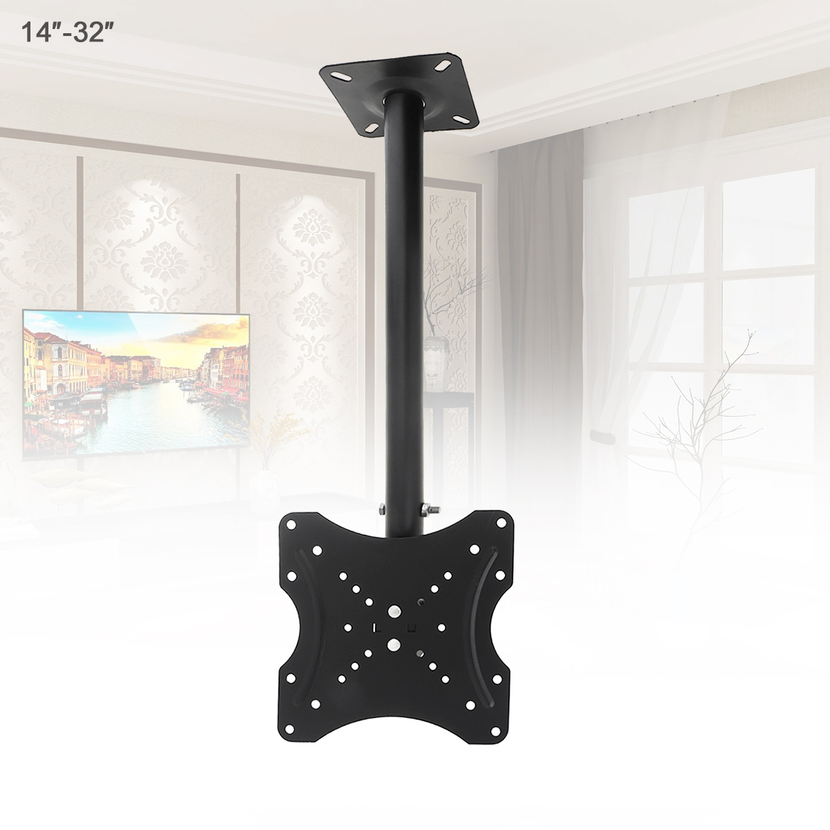Universal 25KG Adjustable TV Flat Panel Wall Hanger Support 360° Rotation with Cable Clip for 14-<font><b>32Inch</b></font> LCD LED <font><b>Monitor</b></font> Flat image
