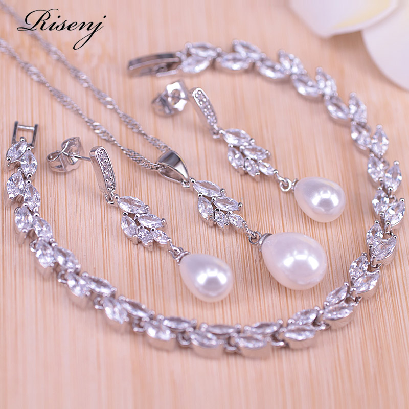 Risenj Silver 925 Water Drop Freshwater Pearl Jewelry For Women Stud Earrings Necklace Leaf Bracelet With Pendant Set Big Sale