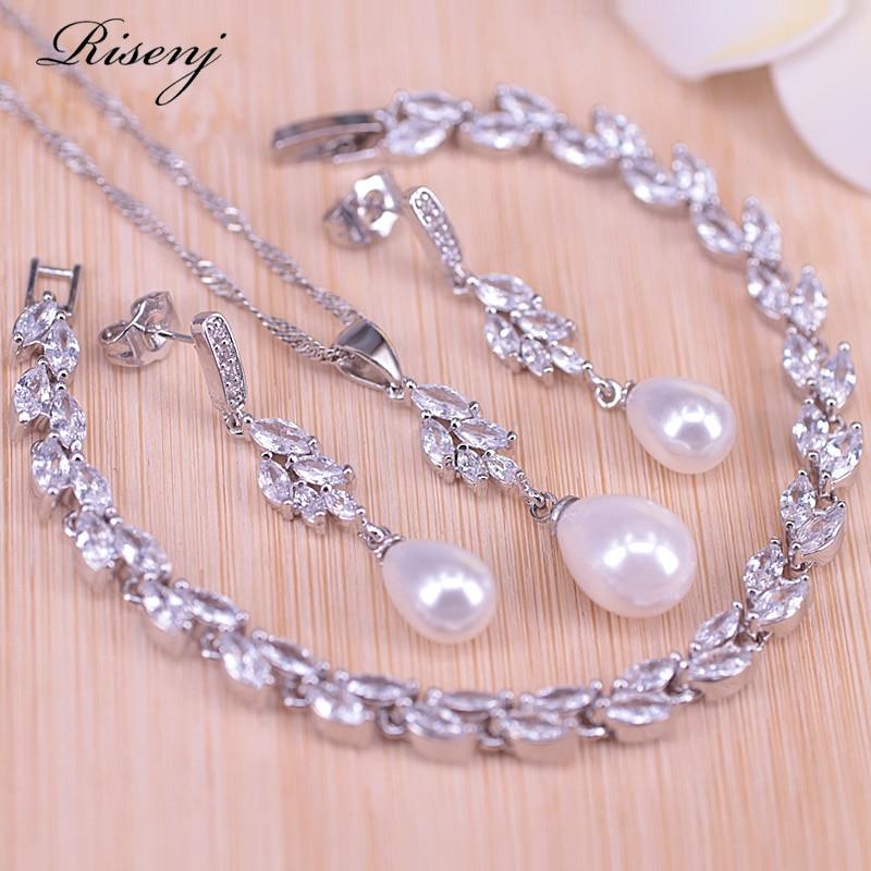 Risenj Silver 925 Water Drop Freshwater Pearl Jewelry For Women Stud Earrings Necklace Leaf Bracelet With Pendant Set Big Sale